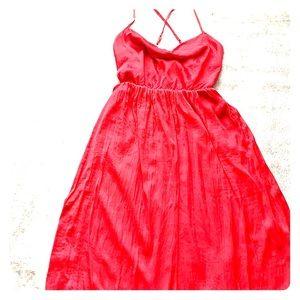 Summer Red spaghetti steing Satin dress